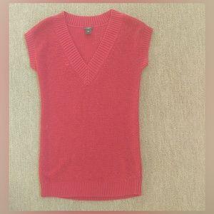 ann taylor red v neck short sleeve sweater dress